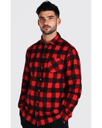 BoohooMAN Long Sleeve Regular Fit Flannel Shirt - Red