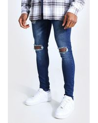 BoohooMAN Super Skinny Bleached Distressed Jeans - Bleu