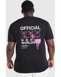 BoohooMAN Big And Tall Butterfly Back Print T-shirt - Black