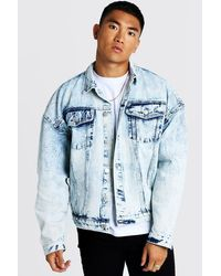 2ade39652 Drop Shoulder Oversized Denim Jacket In Acid Wash - Blue