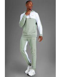 BoohooMAN Man Active Colorblock Trainingsanzug mit Kapuze - Grün
