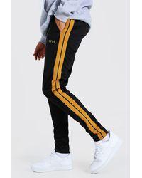 BoohooMAN Tall Slim Fit Man Tricot Jogger With Tape - Black