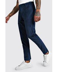 BoohooMAN Velour Skinny Fit Smart Pants - Green