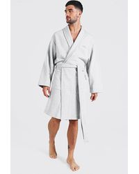 BoohooMAN Man Signature Heavy Jersey Dressing Gown - Grey