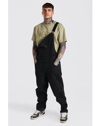 BoohooMAN Relaxed Fit Long Dungaree - Black