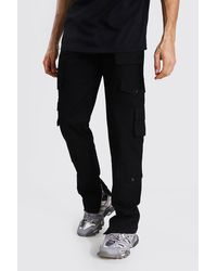 BoohooMAN Tall Relaxed Fit Twill Cargo Trouser - Black