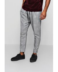 Boohoo - Woven Checked Jogger With Yellow Stripe - Lyst