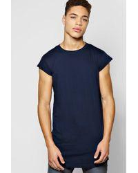 Boohoo - Longline Loose Fit Cap Sleeve T Shirt - Lyst