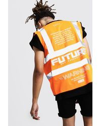 BoohooMAN Reflective Detail Man Future Hi-vis Vest - Orange