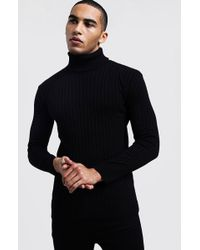 BoohooMAN Ribbed Long Sleeve Roll Neck Jumper - Black