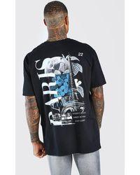 BoohooMAN Oversized Paris Graphic Back Print T-shirt - Black