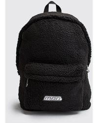 BoohooMAN Rubber Tab Detail Borg Backpack - Black