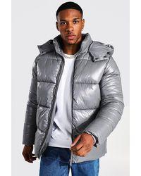 BoohooMAN Puffer-Jacke aus recyceltem Material mit hochglänzenden Einsätzen - Grau