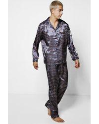 Boohoo Patterned Satin Pyjamas - Blue