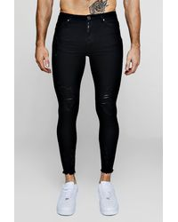 BoohooMAN Black Super Skinny Jeans With Raw Hem