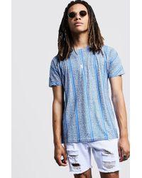 728466d8 BoohooMAN - Blaues Gestreiftes T-shirt Mit Animal-print - Lyst
