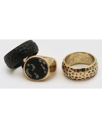 BoohooMAN 3 Pack Gold And Black Textured Ring Set