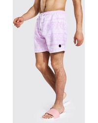 BoohooMAN Pink Bandana Mid Length Swim Shorts