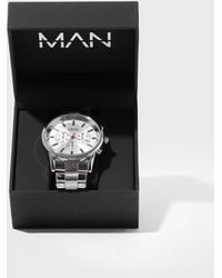BoohooMAN Silver Plated Watch With Gift Box - Metallic