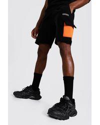 BoohooMAN Regular Official Colour Block Cargo Shorts - Orange