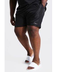 BoohooMAN Plus Size Man Script Swim Short - Black