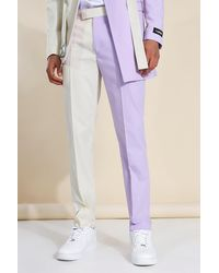 BoohooMAN Skinny Cb Belted Suit Trousers - Lila
