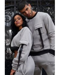 BoohooMAN His Utility Sweater Tracksuit With Buckles - Gray