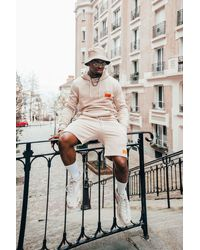 BoohooMAN Hoodie Shorts Tracksuit With Back Print And Bandana - Natural