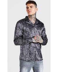 BoohooMAN Long Sleeve Paisley Print Satin Shirt - Brown
