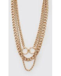 BoohooMAN Gold Multi Layer Necklace - Metallic
