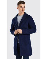 BoohooMAN Pardessus droit en laine mélangée - Bleu