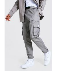 BoohooMAN Tall Twill Belt Front Cargo Jogger With Tab - Grey