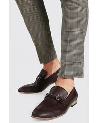 BoohooMAN Faux Leather Metal Bar Loafer - Brown