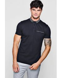 Boohoo - Jersey Polo With Woven Collar - Lyst