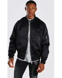 BoohooMAN Man Satin Butterfly Embroidered Ma1 Bomber - Black