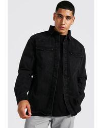 BoohooMAN Langärmeliges Regular Fit Jeanshemd im Western-Stil - Schwarz