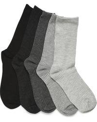 Børn Ribbed Crew Socks - 5 Pack - Black