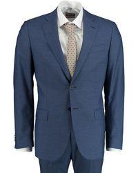 Bos Bright Blue Kostuum Wol Blauw Modern Fit