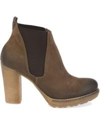 DONNAPIU` Brown Leather Ankle Boots