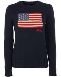 Polo Ralph Lauren Blue Jumper With American Flag Intarsia