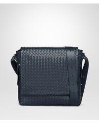 Bottega Veneta - Denim Intrecciato Calf Messenger Bag - Lyst
