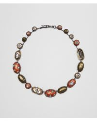 Bottega Veneta - Natural Brown Antique Silver Stellular Necklace - Lyst
