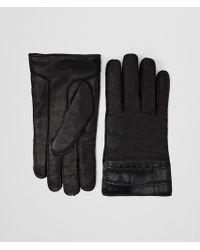 Bottega Veneta Nero Nappa Crocodile Glove - Black