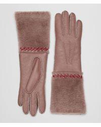 Bottega Veneta - Gloves In Shearling And Nappa - Lyst