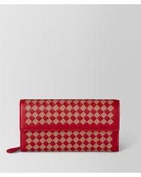 Bottega Veneta - China Red/dahlia Intrecciato Checker Continental Wallet - Lyst