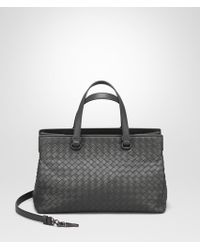 Bottega Veneta - Light Gray Intrecciato Nappa Medium Top Handle Bag - Lyst
