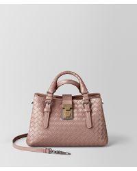 Bottega Veneta Mini Roma Bag In Intrecciato Calf Leather - Multicolour