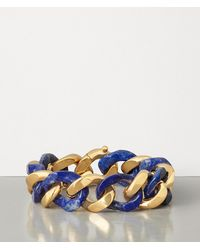 Bottega Veneta Bracelet In Lapis Lazuli And Gold-plated Silver - Blue