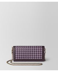 Bottega Veneta Chain Wallet In Intrecciato Chequer - Multicolour