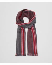 Bottega Veneta - Anthracite/red Wool Scarf - Lyst